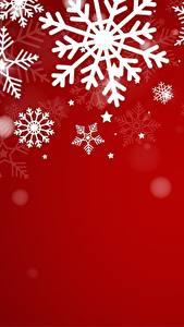 Картинка Новый год Красный фон Снежинки Шаблон поздравительной открытки