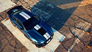 Фотографии Форд Синий Сверху 2019 Mustang Shelby GT500 Авто