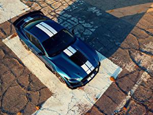 Фотографии Ford Синих Сверху 2019 Mustang Shelby GT500 автомобиль