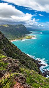 Фотографии Тропики Пейзаж Берег Небо Океан США Гавайи Облака Утес