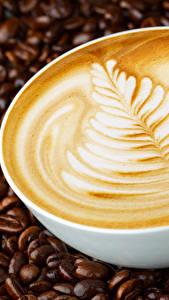 Картинки Кофе Крупным планом Капучино Чашке Зерно