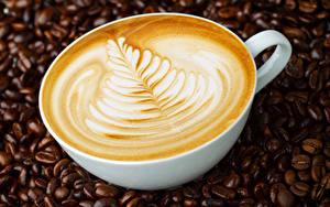 Картинки Кофе Крупным планом Капучино Чашке Зерно Еда