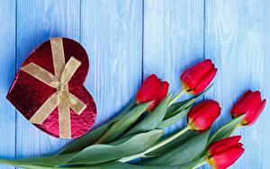 Картинки Тюльпаны День святого Валентина Сердце Бантик Доски Цветы