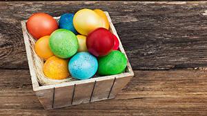 Фотография Праздники Пасха Доски Яйца Разноцветные