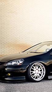 Фото Тюнинг Хонда Черный Сбоку Acura RSX Stance AME Integra Авто