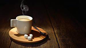 Обои Кофе Доски Чашке Сахар Ложки Пар Продукты питания