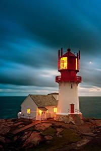 Обои Море Небо Маяки Норвегия Облачно Lindesnes Lighthouse, Skagerrak Strait