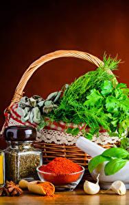 Фотография Натюрморт Пряности Овощи Чеснок Корзина Банка Еда