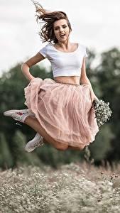 Обои В прыжке Юбки Боке Vladimir Vasiliev девушка