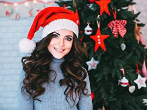 Фотография Рождество Шатенка Шапки Улыбка Волосы Свитер