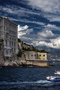 Фотография Монако Здания Море Небо Корабль Берег Монте-Карло Облака Музеи Oceanographic