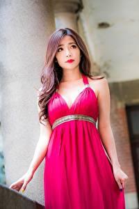 Картинки Азиатки Платье Шатенки молодая женщина