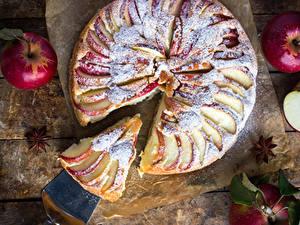 Фотография Выпечка Пирог Яблоки Кусок Продукты питания