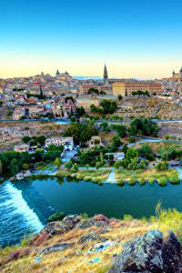 Картинка Испания Дома Реки Толедо