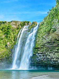Обои Водопады Утес Природа