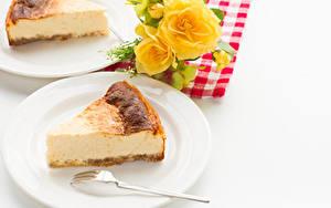 Фотография Пирог Творог Часть Тарелке Вилки Продукты питания Еда