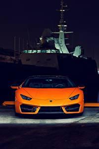 Картинки Lamborghini Спереди Оранжевая Ночь Huracan 2016 LP 580-2 Автомобили