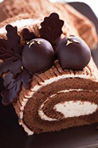Фото Рулет Сладкая еда Шоколад