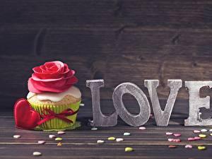 Картинки Капкейк кекс Любовь День всех влюблённых Продукты питания