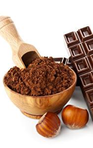Картинка Шоколад Орехи Белый фон