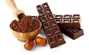 Картинка Шоколад Орехи Лесной орех Белый фон Какао порошок Пища