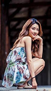 Обои Азиаты Сидит Улыбка Смотрят молодая женщина