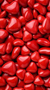 Картинка День святого Валентина Много Текстура Сердце Красная