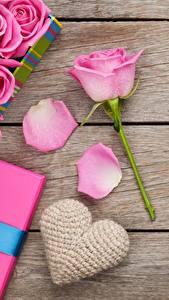 Фото Роза День святого Валентина Доски Розовая Сердечко Цветы
