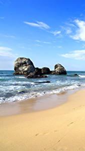 Фото Берег Камень Волны Небо Песке Скалы Пляжа Природа