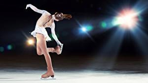 Обои Льда Танцуют Шатенка Коньки Спина Девушки Спорт