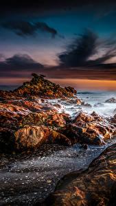 Фотография Новая Зеландия Пейзаж Берег Рассветы и закаты Камень Небо Thames Природа