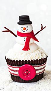 Фотография Сладости Пирожное Капкейк кекс Снеговики Дизайн Шляпа Шарф Продукты питания
