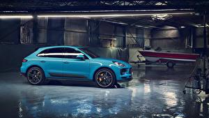 Картинки Порше Голубых Металлик 2018 Macan S Worldwide Авто