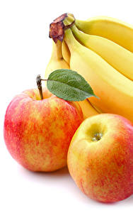 Обои Бананы Яблоки Крупным планом Белый фон