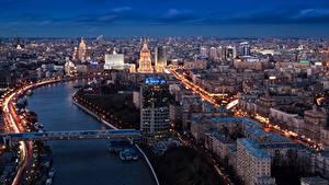 Фотографии Россия Москва Реки Мосты Мегаполис город