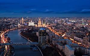 Фотографии Россия Москва Речка Мосты Мегаполис Города