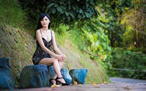 Картинка Камень Азиатки Боке Сидящие Ног Платья Брюнетки девушка