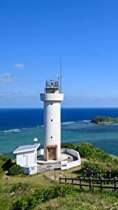 Обои Маяки Побережье Япония Море Забора Природа