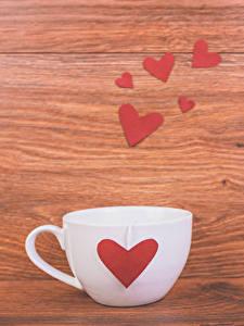 Картинка День святого Валентина Доски Чашка Сердца Еда