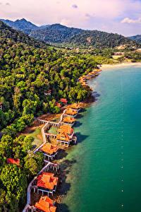 Картинки Малайзия Тропики Побережье Горы Леса Пляж Langkawi Природа