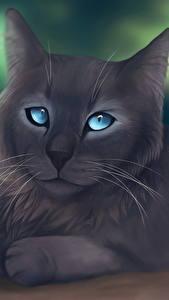 Обои Кошки Рисованные Серый животное