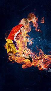 Картинка Баскетбол Мужчина Пламя Прыжок спортивная