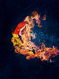 Картинка Баскетбол Мужчины Пламя Прыжок Спорт