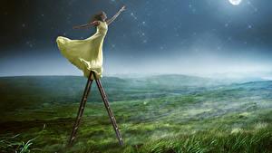 Фотографии Поля Ночь Шатенки Платья Лестницы Руки молодые женщины