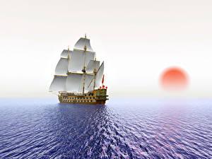 Фотографии Море Корабли Парусные Рассветы и закаты Солнца 3D Графика