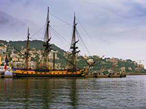 Обои Франция Дома Пирсы Корабли Парусные Заливы Nice Города