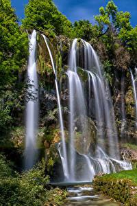 Обои Франция Водопады Скала Brochaux Waterfall