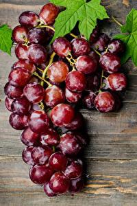 Картинки Виноград Крупным планом Доски Листья