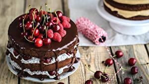 Картинки Шоколад Малина Черешня Торты Пища