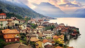 Фотография Италия Побережье Озеро Дома Горы Como Lake Milan Города